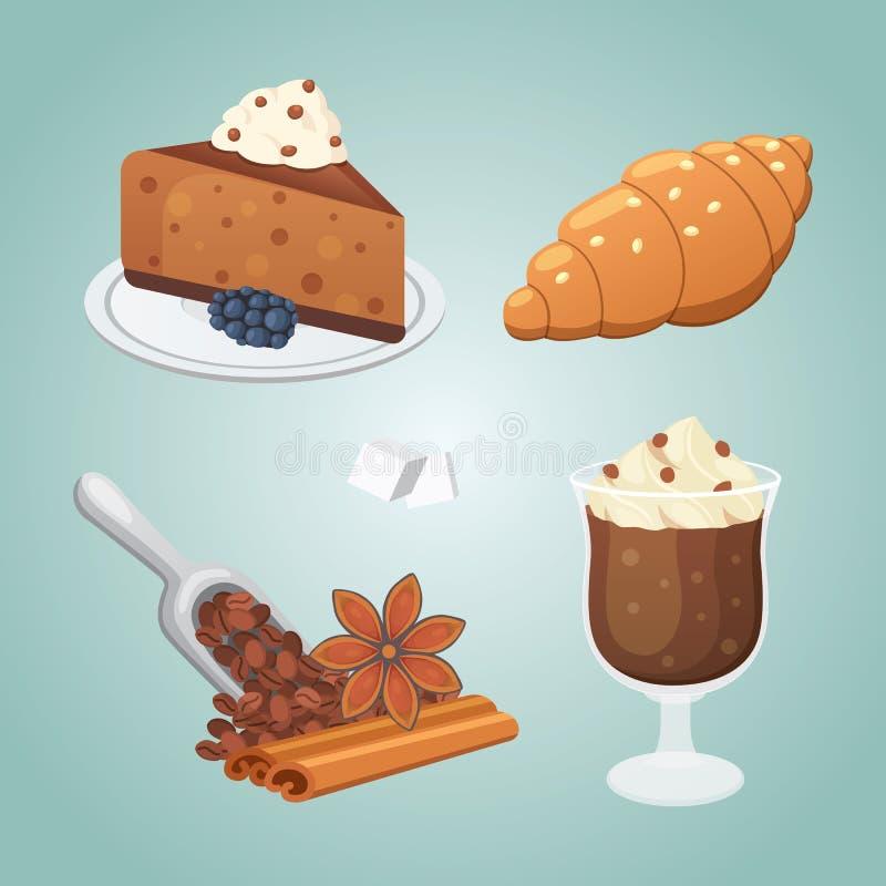 Słodkie cofee pustynie ustawiać tort, croissant i cappuccino, royalty ilustracja