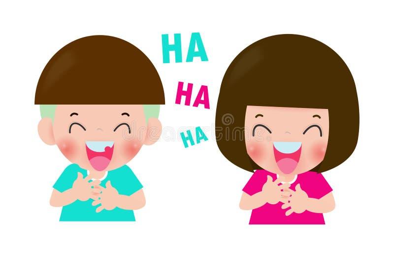 Słodkie dzieciaki się śmieją, dzieci śmieją się bohaterka z kreskówki chłopiec i dziewczyna Isolated on white background Ilustrac ilustracja wektor