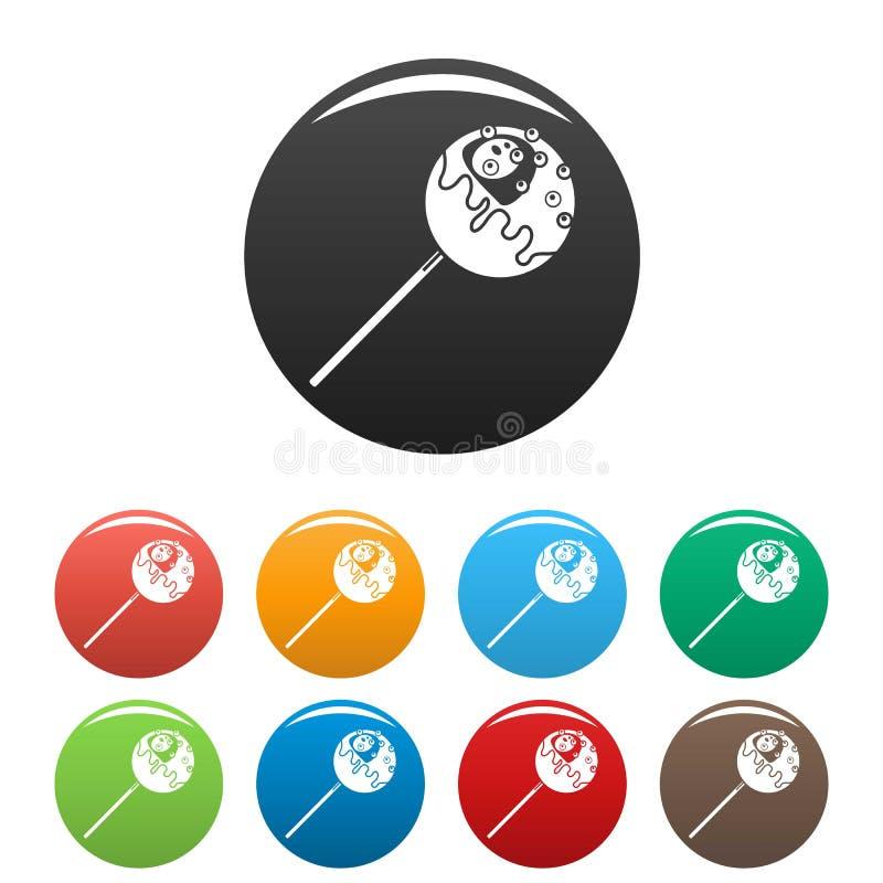 Słodkie ikony ustawiający lizaka kolor ilustracji