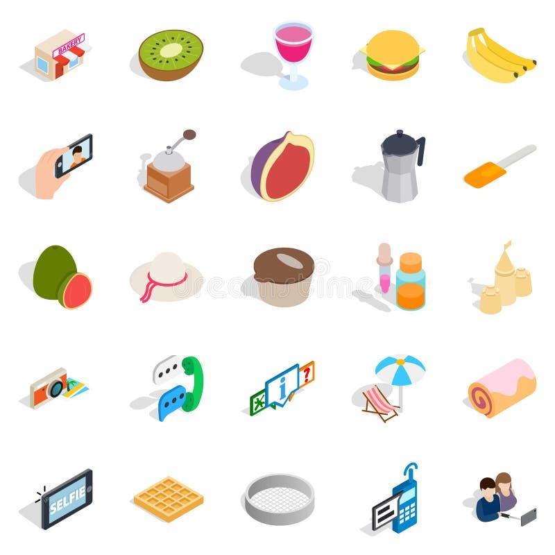 Słodkie karmowe ikony ustawiać, isometric styl ilustracji
