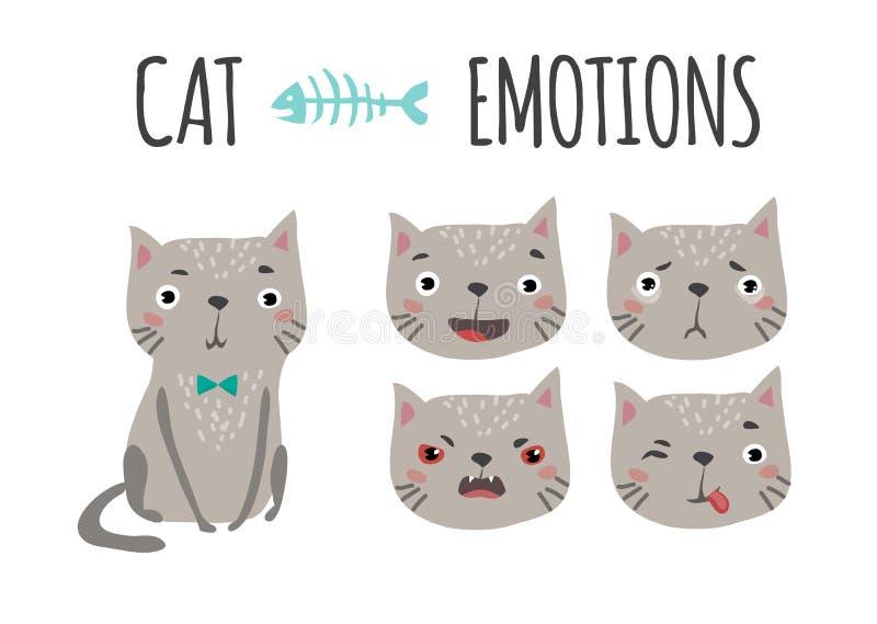 słodkie kota emocje ustawiać royalty ilustracja