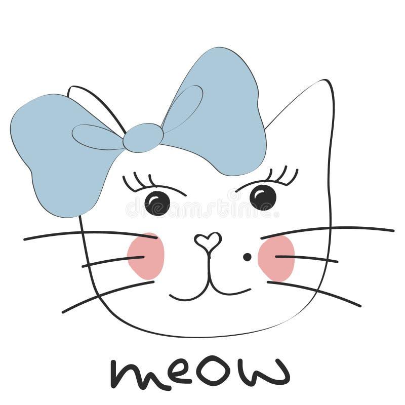 słodkie kota Mała kiciunia, łęk Meow slogan ilustracja wektor