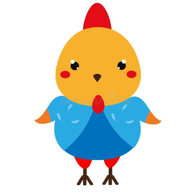 słodkie kurczaka Kreskówki kawaii koguta charakter Wektorowa ilustracja dla dzieciaków i dzieci mody royalty ilustracja