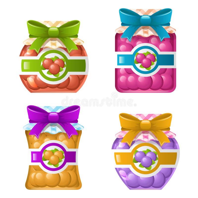 Słodkie Marmoladowe Deserowe Naturalne Zdrowe Organicznie Świeże Szklane Karmowe ikony Ustawiająca dżem galarety słoju Odosobnion ilustracji