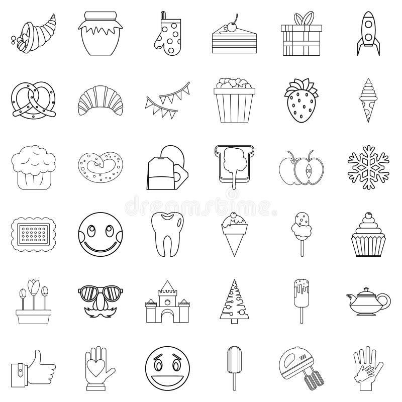 Słodkie materiał ikony ustawiać, konturu styl ilustracji