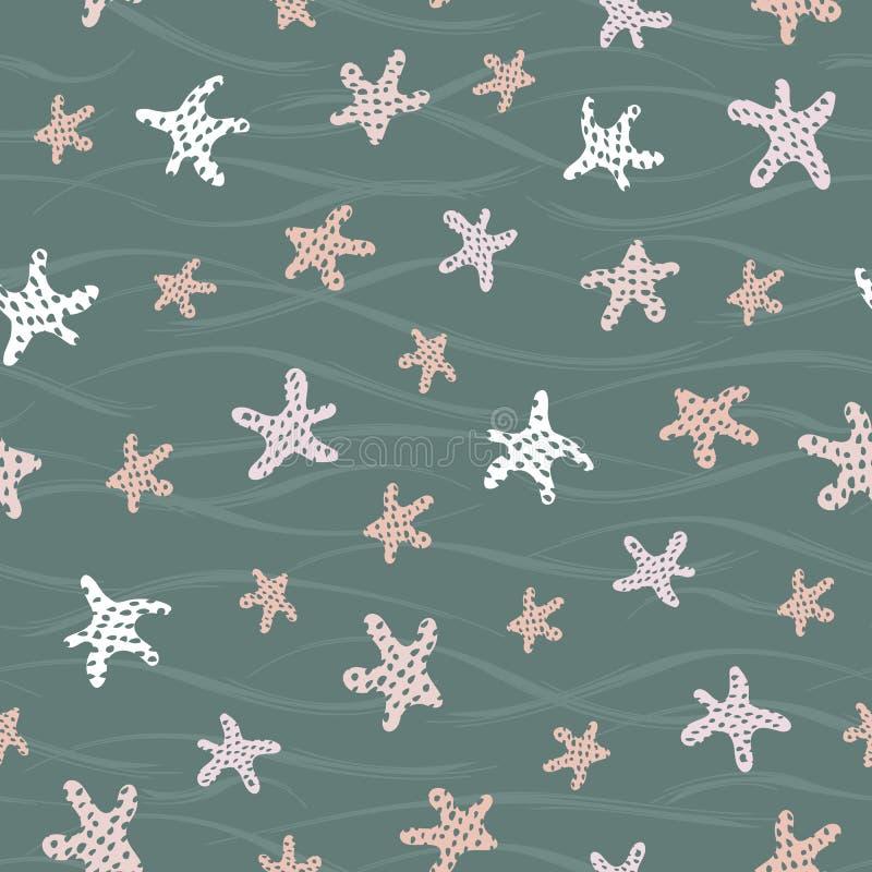 Słodkie morskie tło obrazowe Bezproblemowy wzór rozgwiazd w kolorach jesiennych Idealne do tkanin, zaproszeń, royalty ilustracja