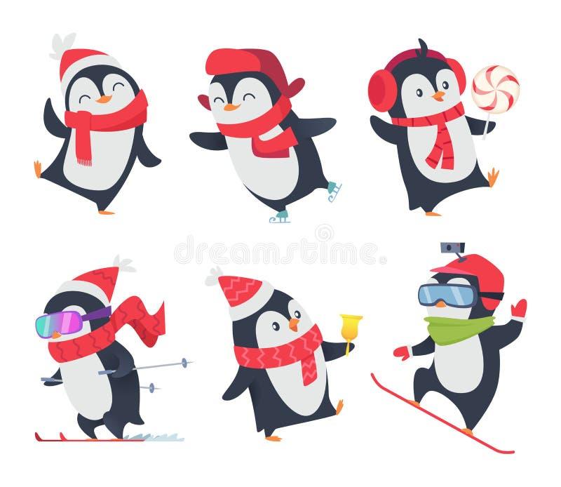 słodkie pingwiny Postaci z kreskówki dziecka słodkiej dzikiej zimy śnieżni zwierzęta pozują wektor odizolowywającego royalty ilustracja