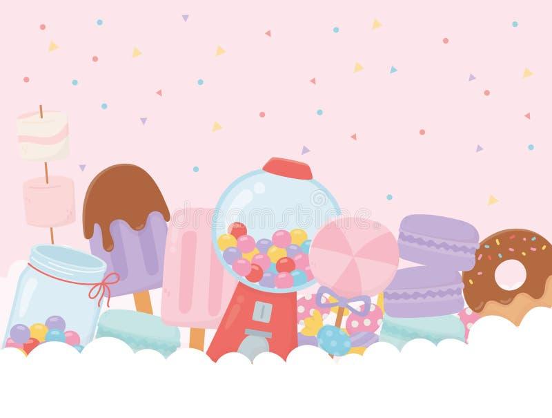 Słodkie produkty guma guma guma lody makaron marshmallow lizak na chmury ilustracji