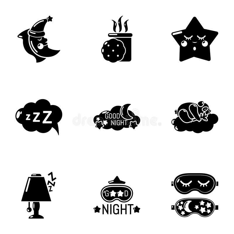 Słodkie sen ikony ustawiać, prosty styl royalty ilustracja