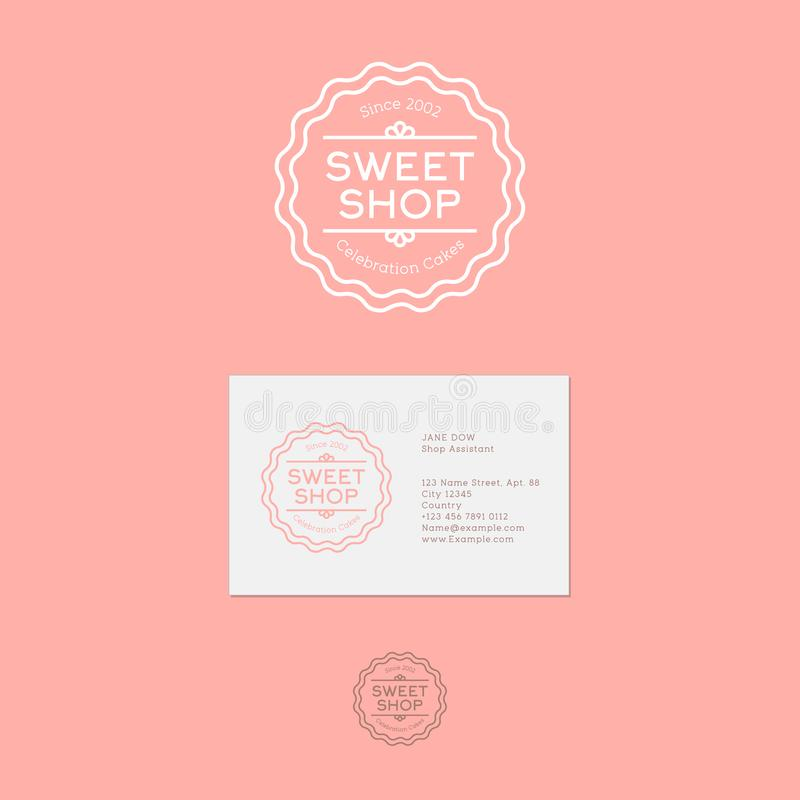 słodkie zakupy logo Świętowanie Zasycha emblemat Rocznika liniowy logo na różowym tle ilustracji