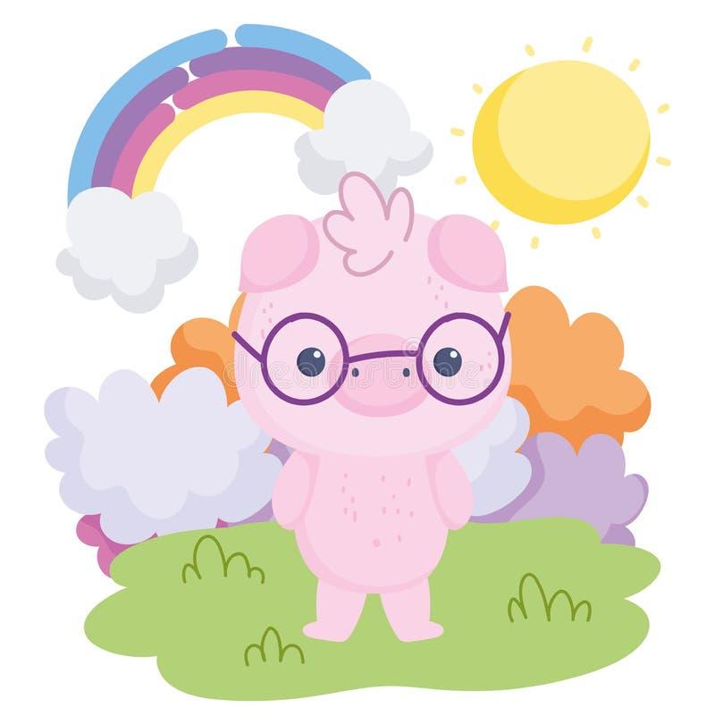 Słodkie zwierzęta świnia z okularami tęczowe chmury kreskówki słońca ilustracja wektor