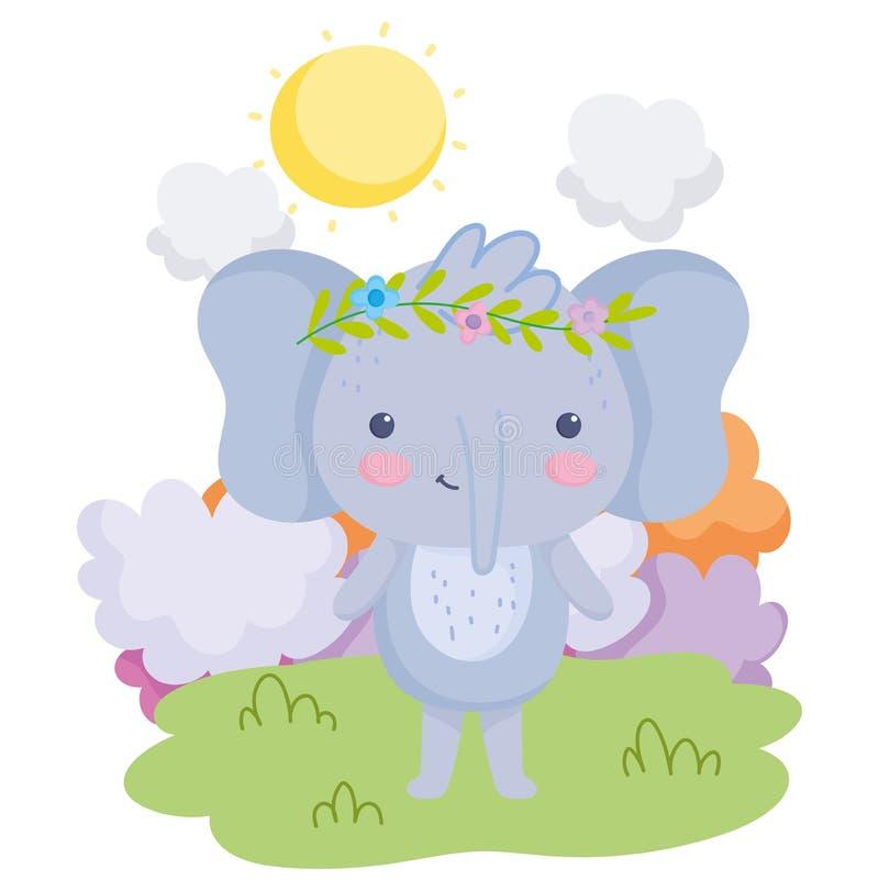 Słodkie zwierzęta słoń z kwiatami w trawie głowy chmury słoneczny dzień kreskówki ilustracja wektor