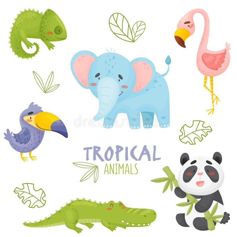 Słodkie zwierzęta tropikalne w dżungli ilustracja wektor