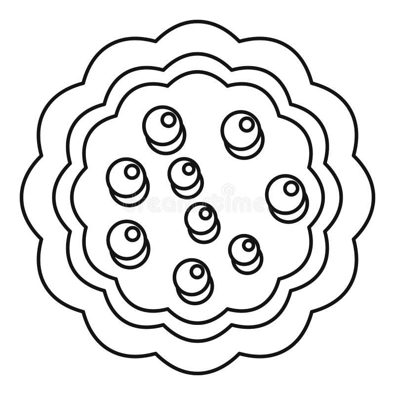 Słodkiego creme biskwitowa ikona, konturu styl royalty ilustracja