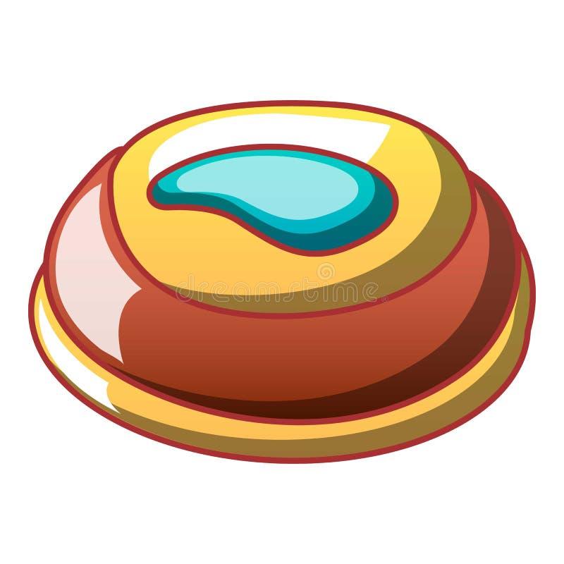 Słodkiego creme biskwitowa ikona, kreskówka styl ilustracji