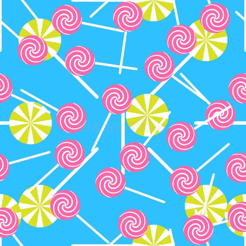 Słodkiego cukierku bezszwowy wzór Kolorowy cukrowy opakunek ilustracji
