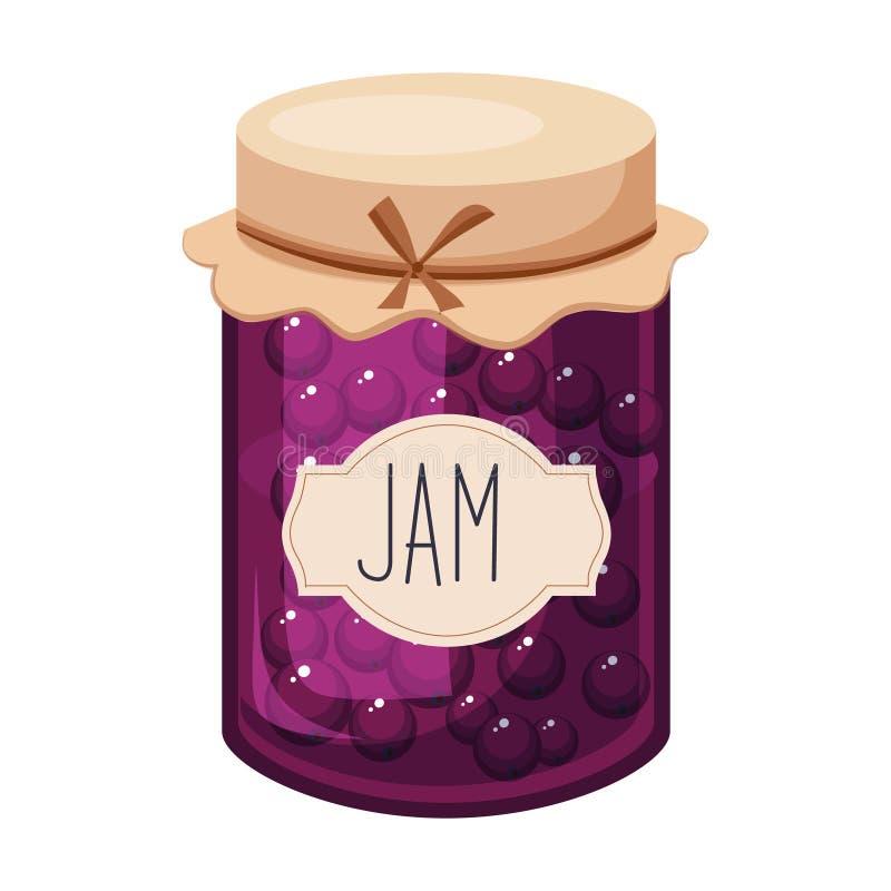 Słodkiego Czarnego rodzynku purpur dżemu Szklany słój Wypełniający Z jagodą Z szablon etykietki ilustracją ilustracja wektor