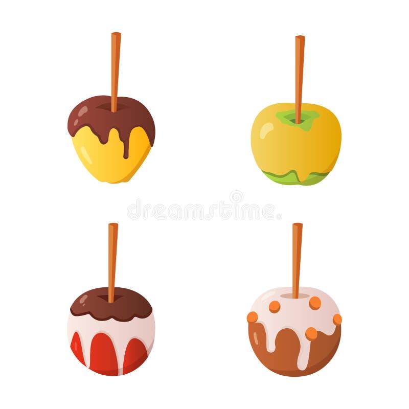 Słodkiego karmelu i czekoladowego cukierku jabłka set Wektorowa ilustracja w kreskówka stylu ilustracja wektor