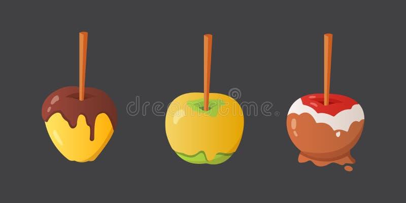 Słodkiego karmelu i czekoladowego cukierku jabłka set Wektorowa ilustracja w kreskówka stylu ilustracji