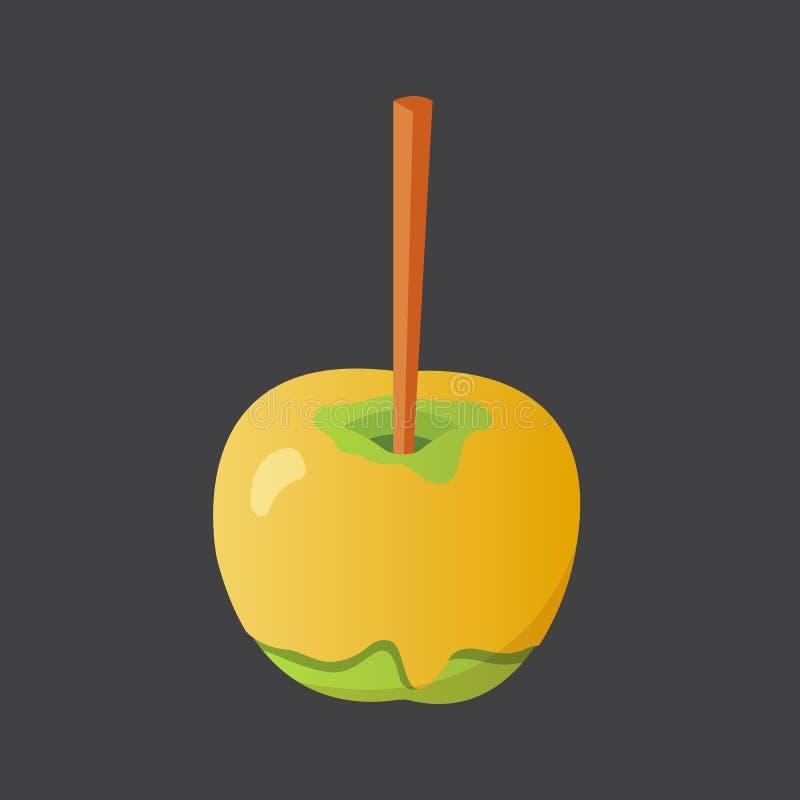 Słodkiego karmelu i czekoladowego cukierku jabłko Wektorowa ilustracja w kreskówka stylu ilustracja wektor
