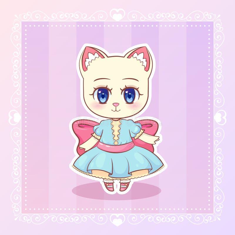 Słodkiego kiciunia Małego kota kawaii anime kreskówki figlarki śliczna dziewczyna w sukni z różowym faborkiem ilustracji