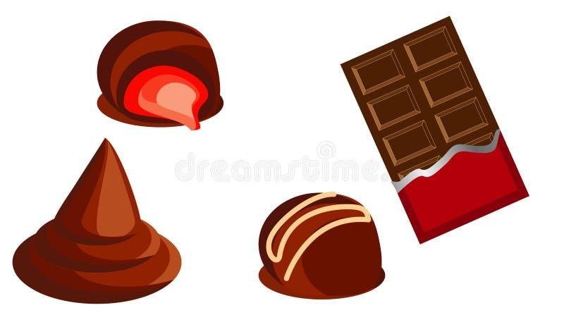 Słodkiej czekolady cukierki i czekoladowi bary ilustracja wektor