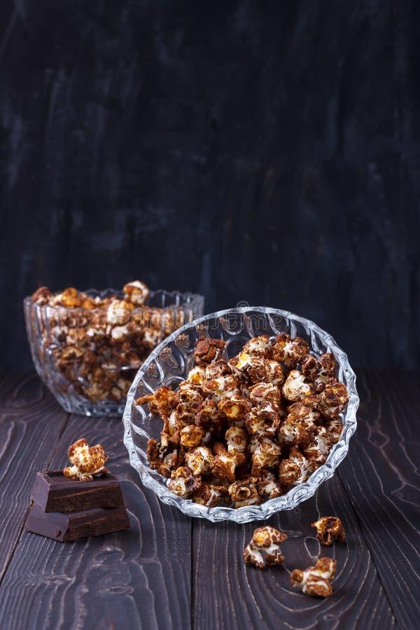 Słodkiej czekolady popkorn obraz stock