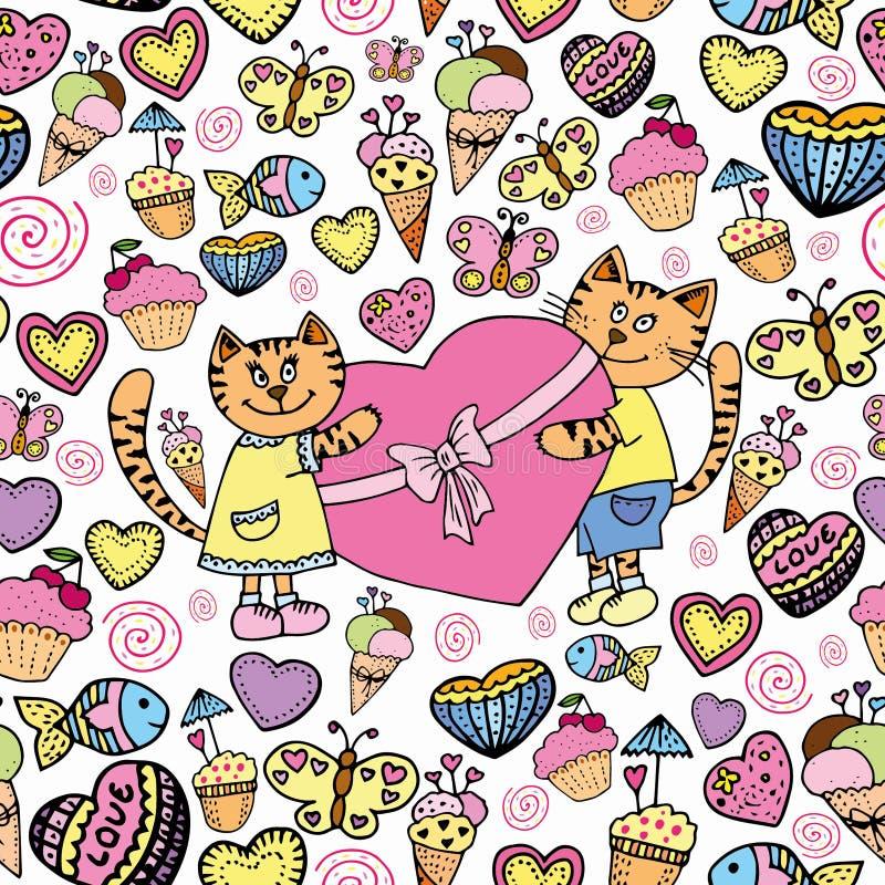 Słodkiej kot miłości bezszwowy wzór ilustracja wektor