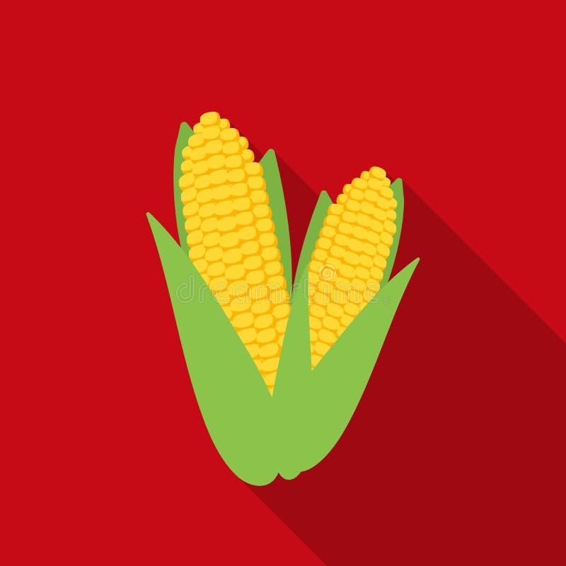 Słodkiej kukurudzy ikona w mieszkanie stylu odizolowywającym na białym tle Kanadyjska dziękczynienie dnia symbolu zapasu wektoru  royalty ilustracja