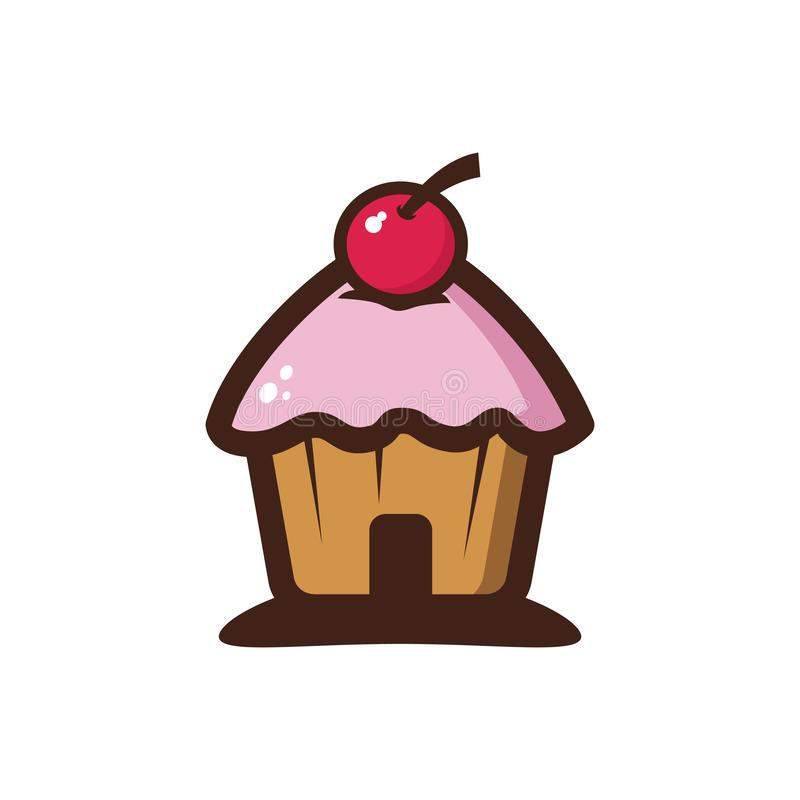 Słodkiej wiśni domu babeczki restauracji sklepu Cukierniany logo royalty ilustracja