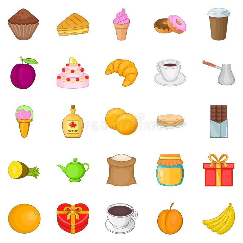 Słodkości ikony ustawiać, kreskówka styl ilustracji