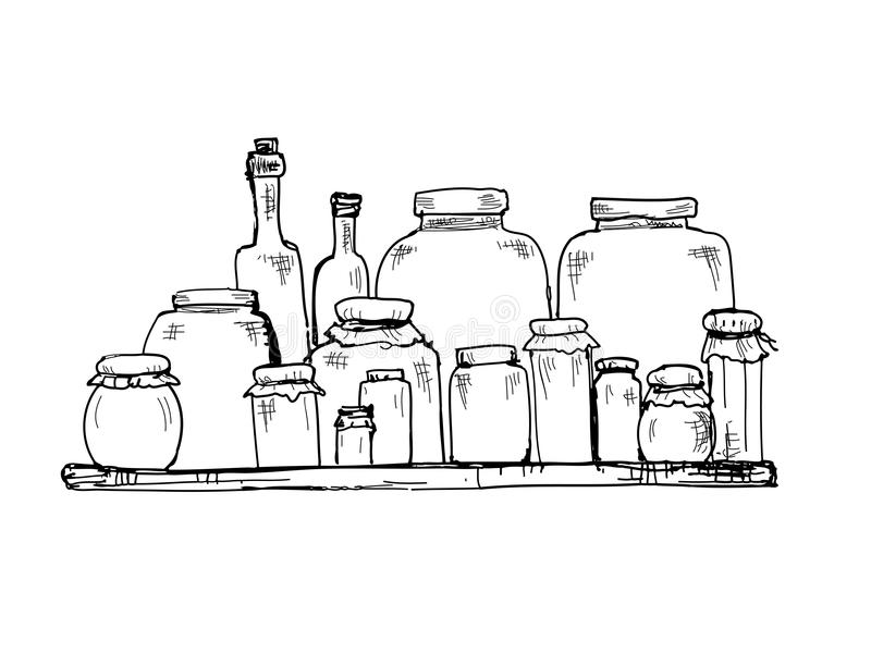 Słoje i butelki ilustracji
