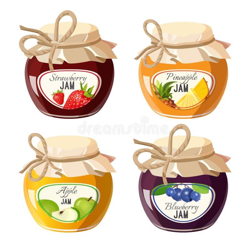 Słoje z czerwoną truskawką, zdrowym ananasem, jabłkiem i czarną jagodą, przyskrzyniają ilustracja wektor