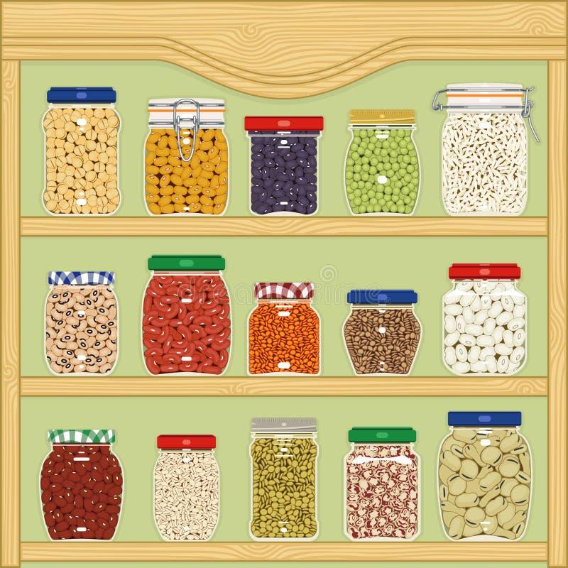 Słoje zboża i legumes royalty ilustracja