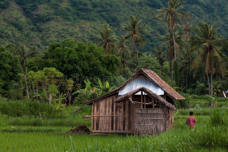 Słoma dom w górskiej wiosce obrazy stock