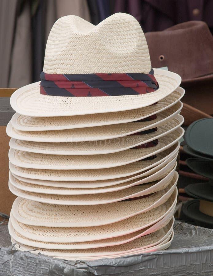 Słomiany fedora typ kapelusz dla sprzedaży fotografia royalty free