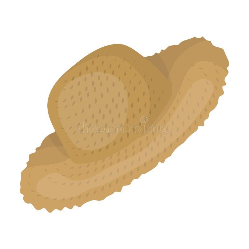 Słomiany kapelusz dla ogrodniczki Headpiece dla ochrony słońce Gospodarstwa rolnego i ogrodnictwa pojedyncza ikona w kreskówce pr ilustracji