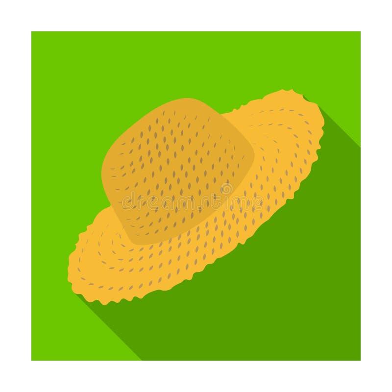 Słomiany kapelusz dla ogrodniczki Headpiece dla ochrony słońce Gospodarstwa rolnego i ogrodnictwa pojedyncza ikona w mieszkaniu p ilustracja wektor