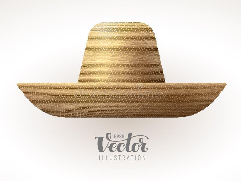 Słomiany kapelusz odizolowywający na białym tle ilustracji