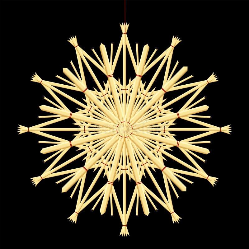 Słomy choinki dekoraci Gwiazdowy czerń royalty ilustracja