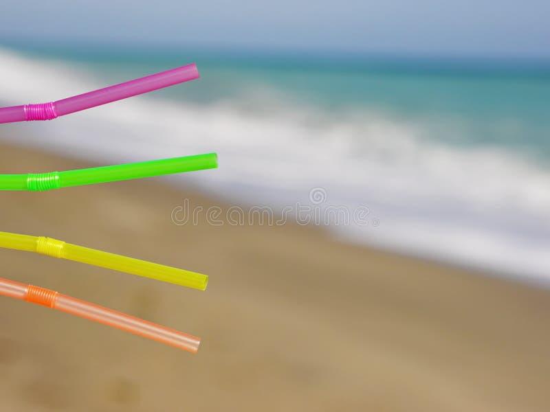 Słomy plaży napój zdjęcie stock