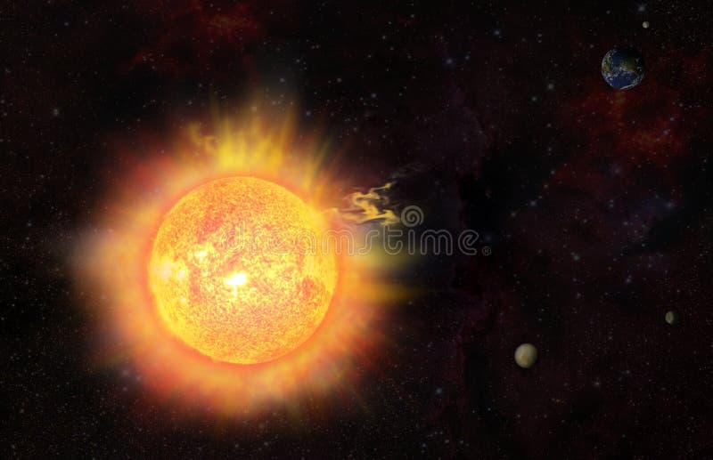 słoneczna erupci burza royalty ilustracja