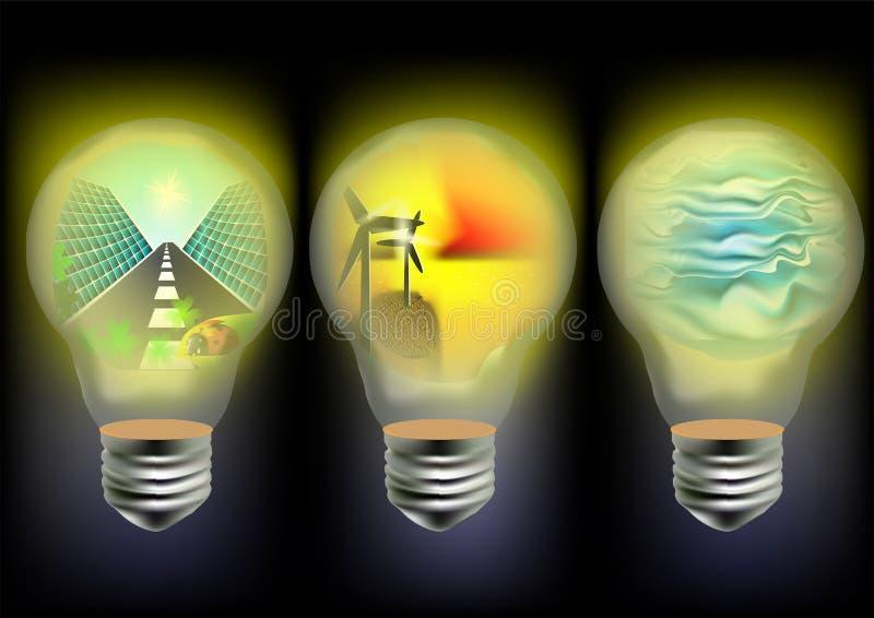 Słoneczna, wiatrowa i falowa energia, royalty ilustracja