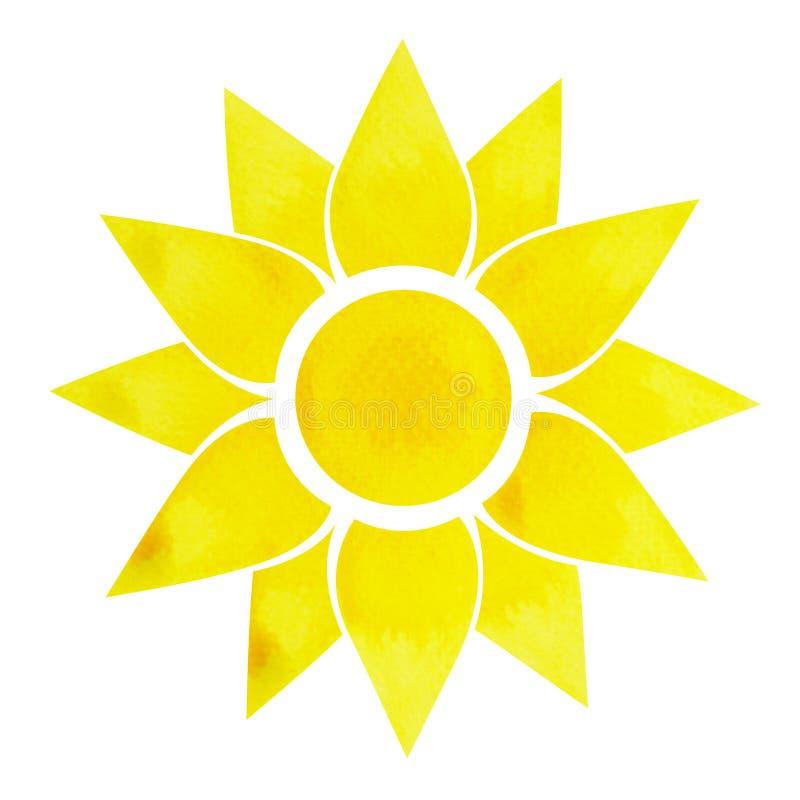 Słonecznego plexus chakra symbolu pojęcie, kwitnie kwiecistego, akwarela obraz ilustracja wektor