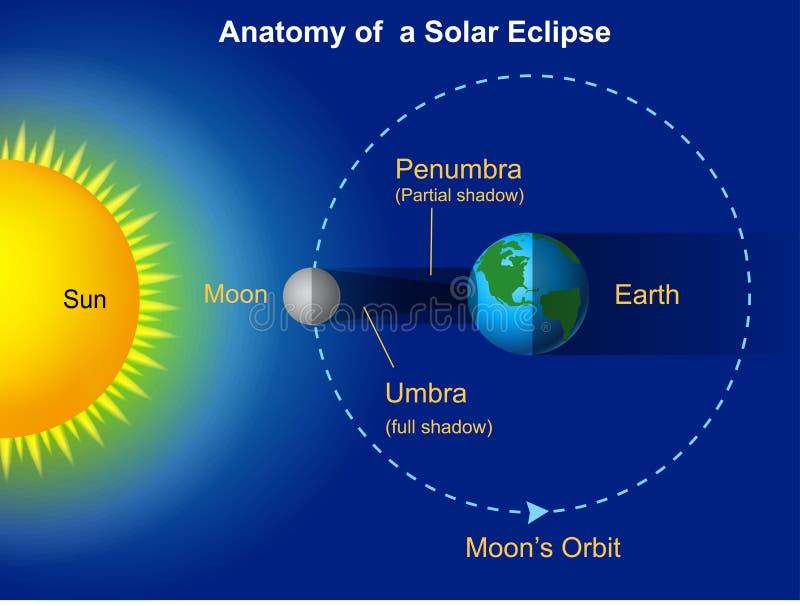 Słonecznego zaćmienia diagram royalty ilustracja