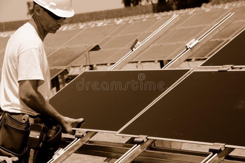 słoneczni instalacyjni panel obrazy stock