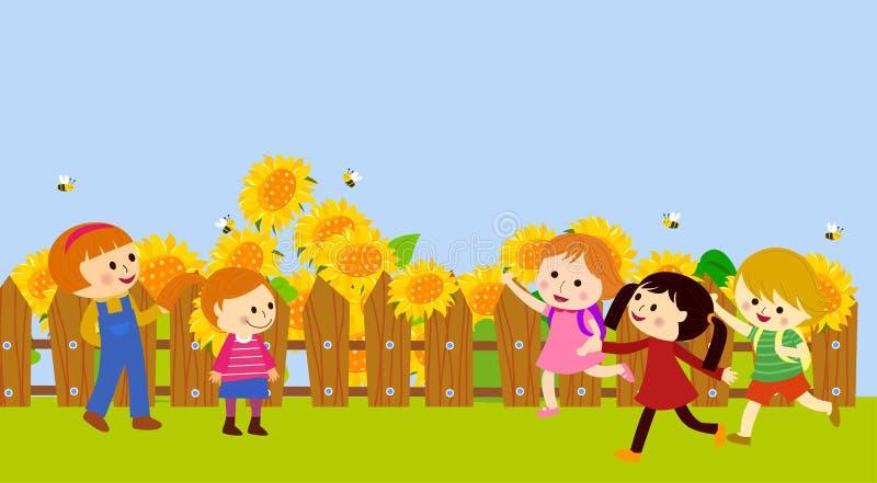 słonecznikowi szczęśliwi dzieciaki ilustracji
