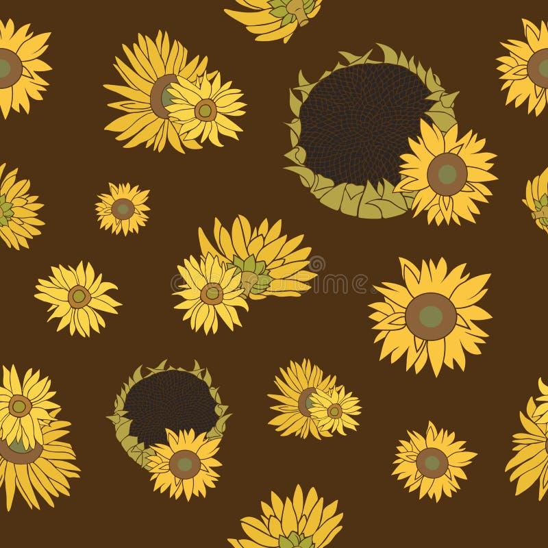 Słonecznikowy wektorowy bezszwowy wzór na zmroku zdjęcie royalty free