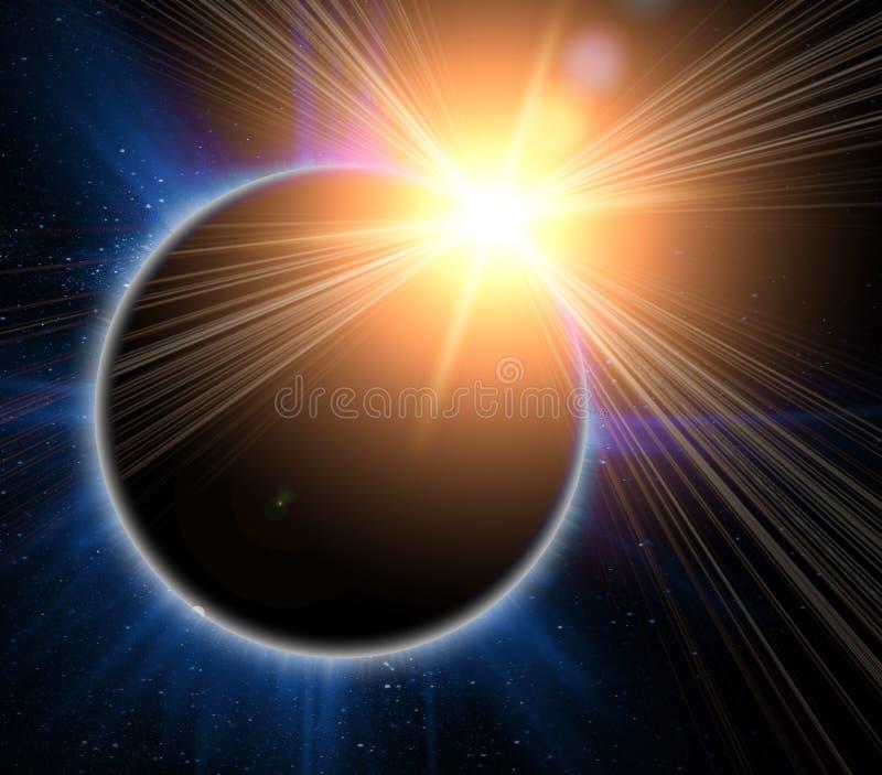 słoneczny czarny zaćmienie ilustracja wektor