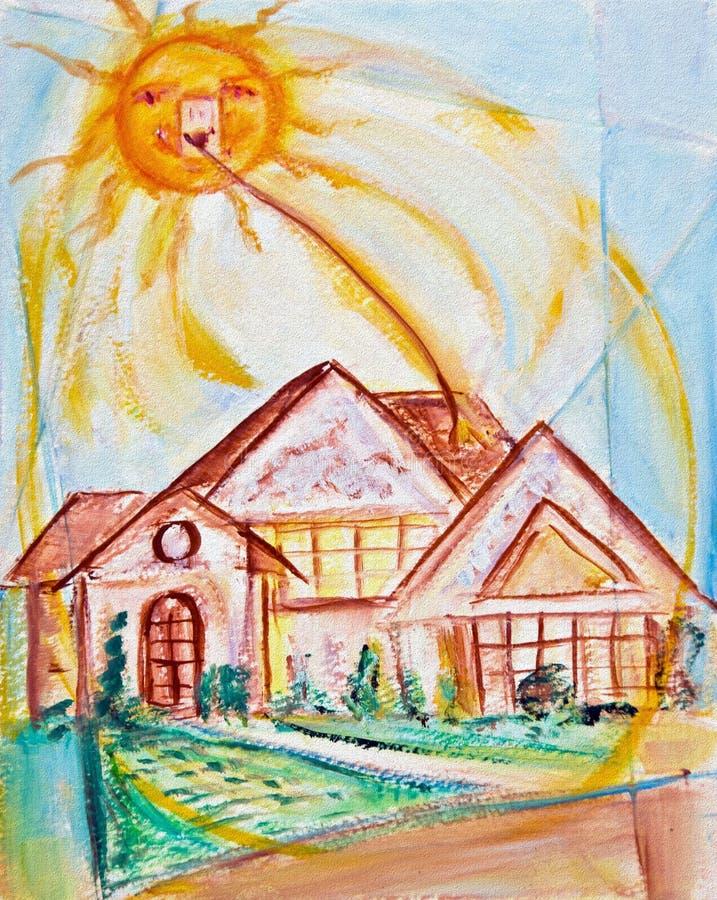 słoneczny domu podczas pracy royalty ilustracja